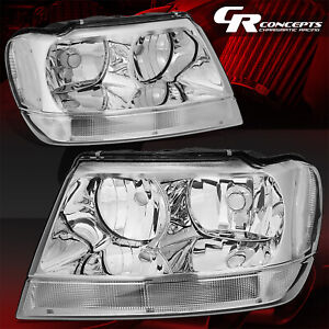 Pair Chrome Housing Clear Sied Headlights Lh Rh For 99 04 Jeep Grand Cherokee Wj