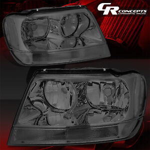Pair Smoked Housing Clear Sied Headlights Lh Rh For 99 04 Jeep Grand Cherokee Wj