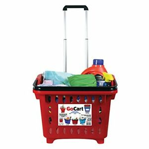 Gocart Red Grocery Shopping Basket Rolling Laundry Cart