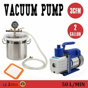 2017 2 Gallon Vacuum Chamber 3 Cfm Single Stage Pump To Degassing Silicone Oy