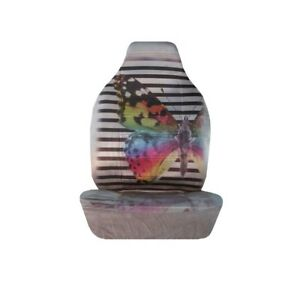Rainbow Butterfly And Black Stripe Seat Covers Pair Car Truck Suv
