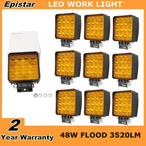 10x 48w Square Flood Led Work Light Offroad Truck Ford Boat Amber 5d Save On 27w