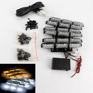 Amber White Strobe 54 Led Car Emergency Warning Lights For Deck Dash Truck Grill