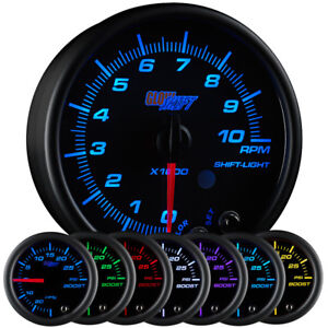 Slightly Used Glowshift Black 7 Color 3 3 4 95mm In Dash Tachometer Gauge