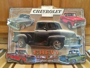 Chevrolet Truck Embossed Raised Metal Rat Rod Coupe Man Cave Garage Parts Emblem