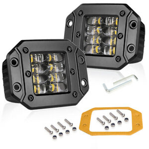 Quad Row 5 160w Flush Mount Led Bar Work Light Pods Spot Driving Off Road 4wd