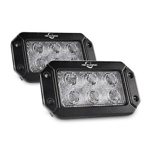 Mictunin 2x 18w Flush Mount Led Work Light Flood Driving Lamp Off Road Fog Lamp