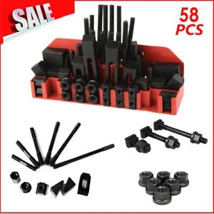 58pc 1 2 Slot 3 8 16 Stud Hold Down Clamp Clamping Set Kit Bridgeport Mill To