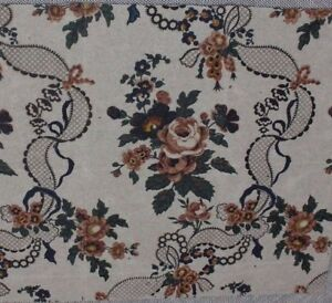 French Antique Block Printed Roses Lace Ribbons Chintz Empreinte On Paper C1840