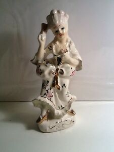 Pink White And Gold Porcelain Lady With Fan Figurine Made In Japan Vintage