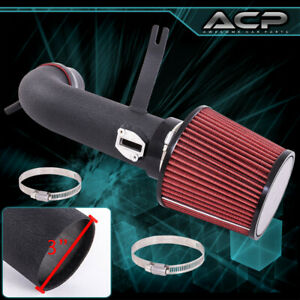 Short Ram Air Sri Intake Black Piping W 3 Red Cone Filter For 13 17 Altima