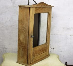 Vintage Hand Carved Wood Kitchen Medicine Apothecary Wall Cabinet Sandblasted