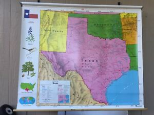 Nystrom Pull Down Texas Map School Classroom Map 1ns42