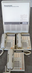 Panasonic Kx t61308 Telephone System With 3 Phones And Electronic Modular Swi