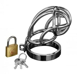 New Master Series Captus Stainless Steel Locking Chastity Cage Cream Gift