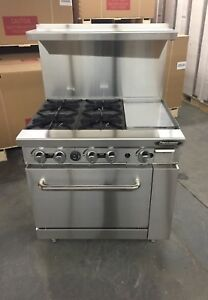 6 4 Burner Restaurant Range 12 Griddle Full Size Standard Oven 4 Burners 36