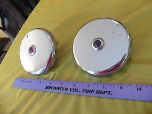 2 Vintage Chrome Red Glass Marker Lights Round Hot Car Rat Rod Parts Rare Set