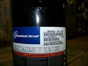 Emerson Copeland Scroll A c Compressor 460v 3 Ph 50 60 Hz Zr57k3e tfd 930