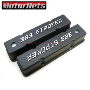 Small Block Chevy Tall Black Aluminum Valve Cover Bowtie 383 Stroker Logo Sbc