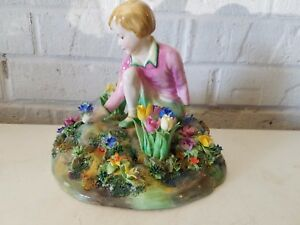 Crown Staffordshire Signed T Bayley Girl In The Garden Figurine