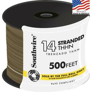 Southwire 500 ft 14 awg Stranded Brown Copper Thhn Wire