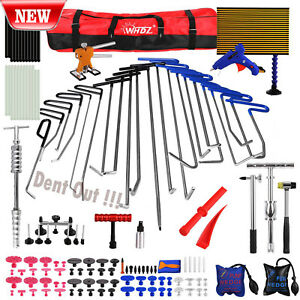 Us Paintless Dent Repair Pdr Tool Hail Puller Lifter Removal Rods Tab Hammer Kit