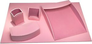 Cameo Pink Leatherette 5 piece Desk Set