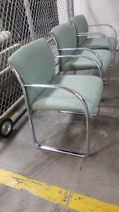Vtg Chrome Steelcase Chairs Mid Century Modern Office Green Fabric 9 Available