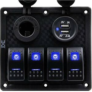 Waterproof Marine Boat Rocker Switch Panel 4 Gang With Dual Usb Slot Socket Rv