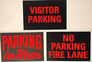 Vintage Plastic No Parking Signs Hardware Store Business 7 x10 New Old Stock