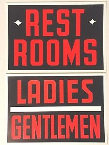 Vintage Plastic Restroom Signs Hardware Store Business Sign 7 x10 New Old Stock