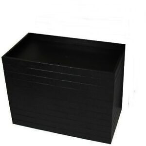 12 Black Plastic Stackable 14 3 4 X 8 1 4 X 2 Jewelry Display Trays Organizer