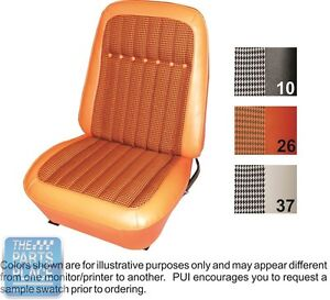 69 Camaro Dlx Orange Houndstooth Front Buckets Coupe Rear Seat Covers Pui