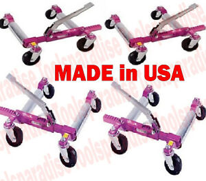 4pc Auto Vehicle Positioning Wheel Dolly Tire Rolling Roller Jack Hd Usa
