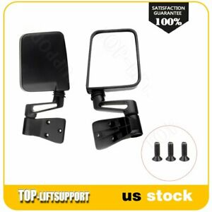 Dirver Passenger Manual Side View Mirrors For 1987 2002 Jeep Wrangler Truck Pair