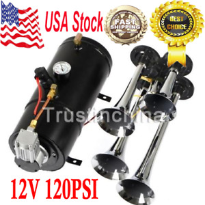 4 trumpet 110 Psi Air System 150db Metal 12v Train Air Horn Kit For Car Truck