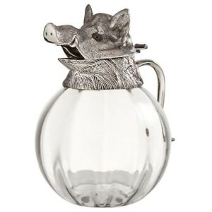 Valenti Glass Pitcher W Silver Plate Boars Head Top Rare Vintage 1960 S