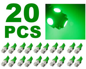 20 Pcs Neon Green T10 Wedge 5 Smd 5050 Led Light Bulbs W5w 2825 158 192 168 194