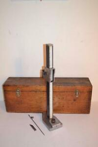 Vintage Tumico 83 18 Machinist Height Gauge W Wood Case By Tubular Micrometer Co