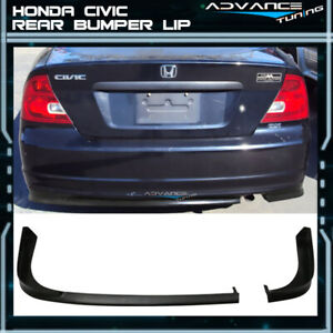 For 01 03 Honda Civic 2dr Coupe Tr Style Rear Bumper Lip Pu Unpainted Black