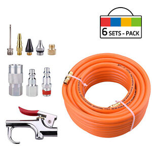 Pvc Air Hose 3 8 50ft With 10 Piece Air Compressor Accessory Kit 6 Sets Pack