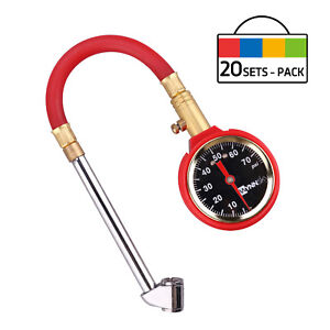 20 Sets Pack Heavy Duty Air Tire Pressure Gauge 5 75psi Dial Meter Tester