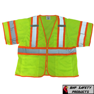 Tingley Class 3 Mesh Hi vis Two tone Traffic Safety Vest W Zipper Double Sized