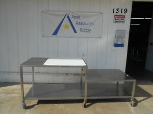 Stainless Steel W Poly Top Work prep Table 95 X 33 On Casters 2712