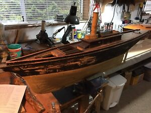 Antique Steam Yacht Model Free Shipping For Canada Usa Only