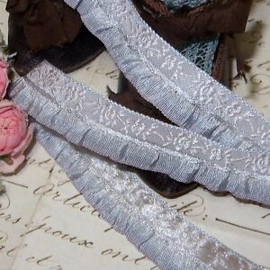 1y Vtg French Gray Violet Blue Ruffle Jacquard Ribbon Doll Dress Trim Roco Antq