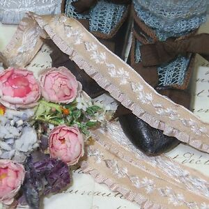 1y Vtg French Beige Ruffle Jacquard Ribbon Doll Dress Trim Rococo Rosette Antq