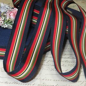 1y 7 8 Vtg Blue Stripe Grosgrain Hat Ribbon Vtg Petersham Trim French Jacquard