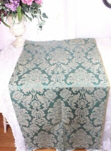 Antique French 19thc Green Frame Lyon Silk Home Dec Damask Fabric C1880 1890