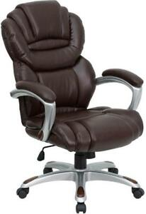 High Back Brown Leather Executive Swivel Office Chair With Leather Padded Loop A